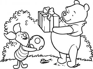 Winnie the pooh soccer and suprise coloring page