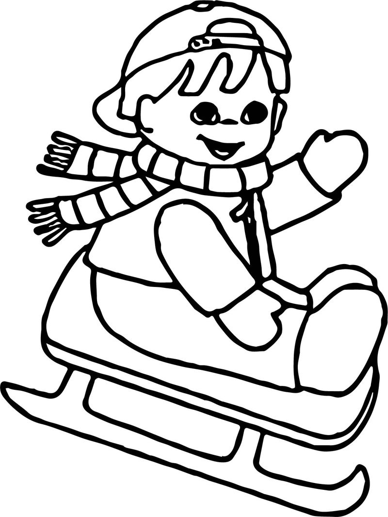 Winter Child Slide Coloring Page