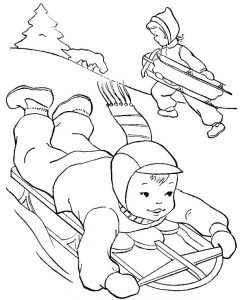 Winter games coloring page