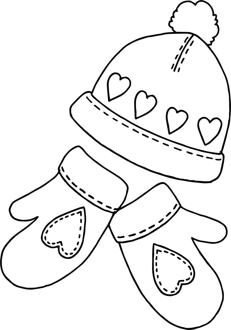 Winter Hat Sholves Coloring Page