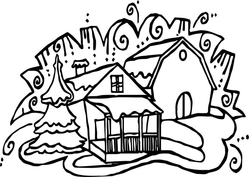 Winter House Coloring Page