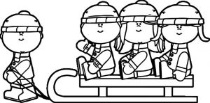 Winter kids on a sled coloring page