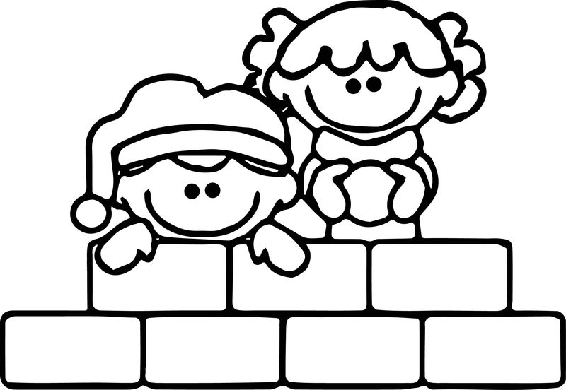 Winter Kids Play Coloring Page