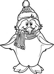 Winter penguin coloring page