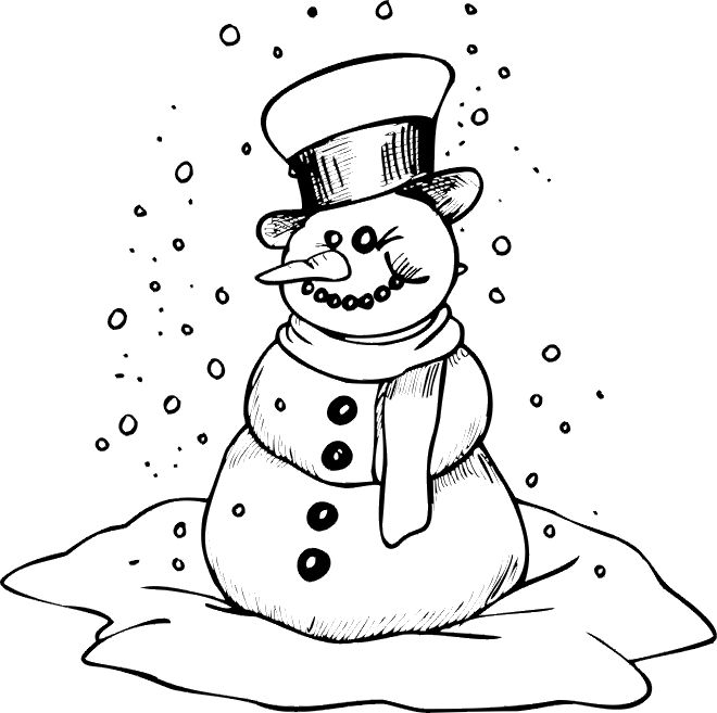 Winter Snowman Coloring Page Printable