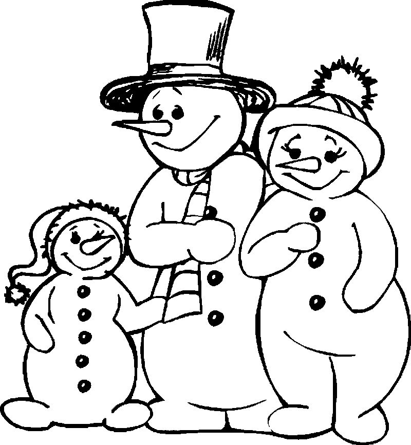 Winter Snowman Family Coloring Page