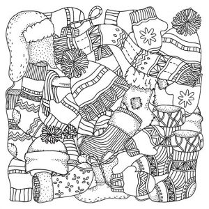Winter stockings hats and mittens coloring page