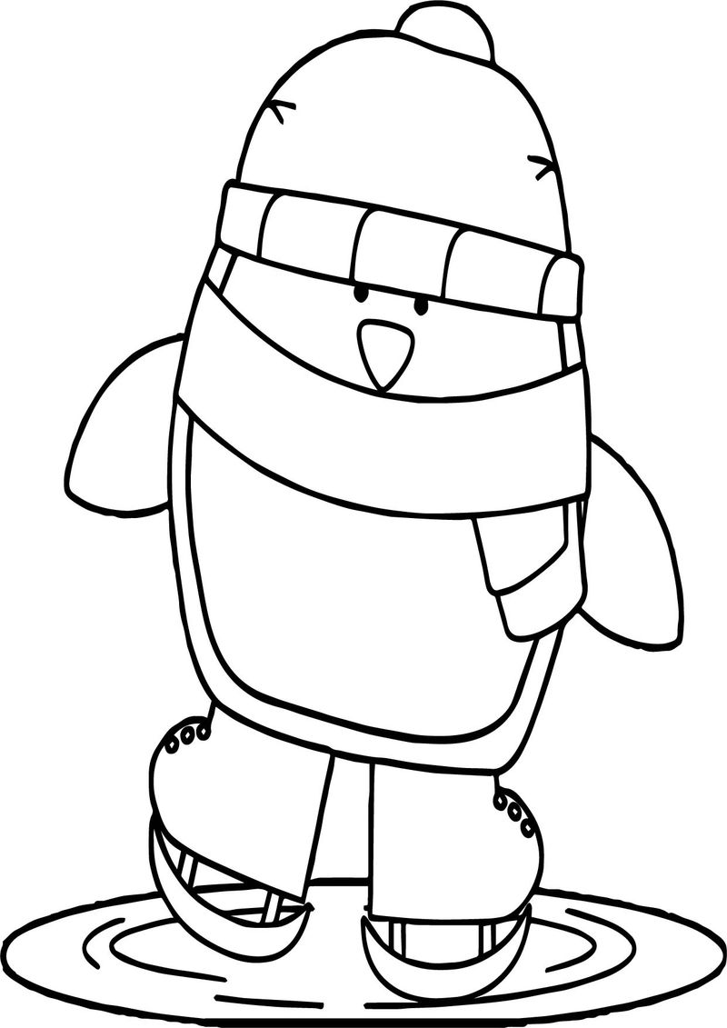 Winter Very Cold Penguin Animal Coloring Page