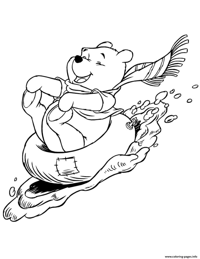 Winter Winnie The Pooh Sledding Coloring Pages