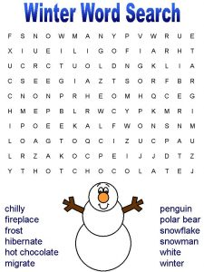 Winter word search for kids