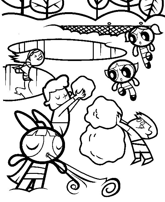 Wintertime Powerpuff Girls Coloring Pages