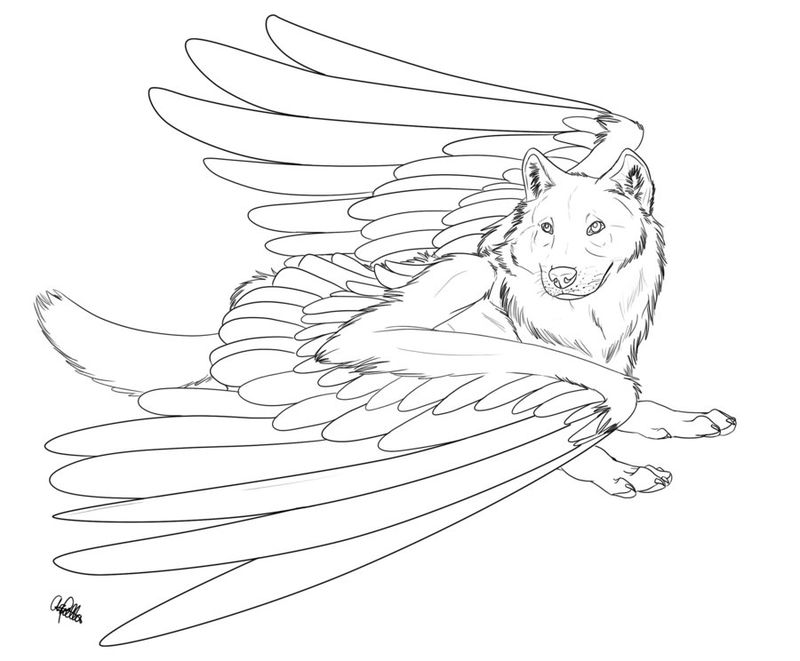 Wolf With Wings Drawing To Color
