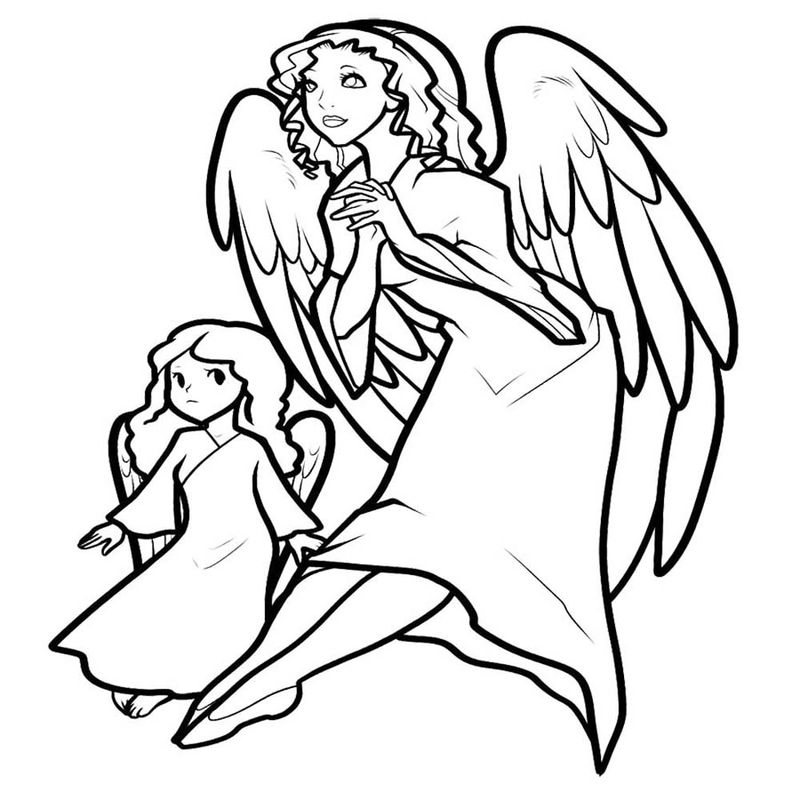 Woman And Child Angel Coloring Page