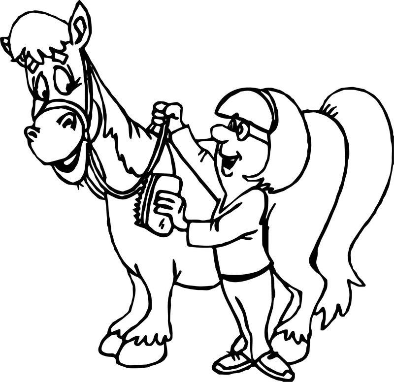 Woman And Horse Coloring Page