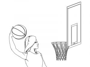 Woman basketball player coloring page 3