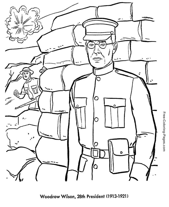 Woodrow Wilson Presidents Day Coloring Page