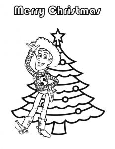 Woody toy story christmas coloring page