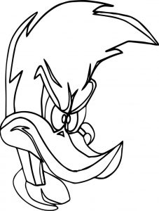 Woody woodpecker angry face coloring page