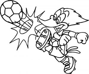Woody woodpecker playing football coloring page