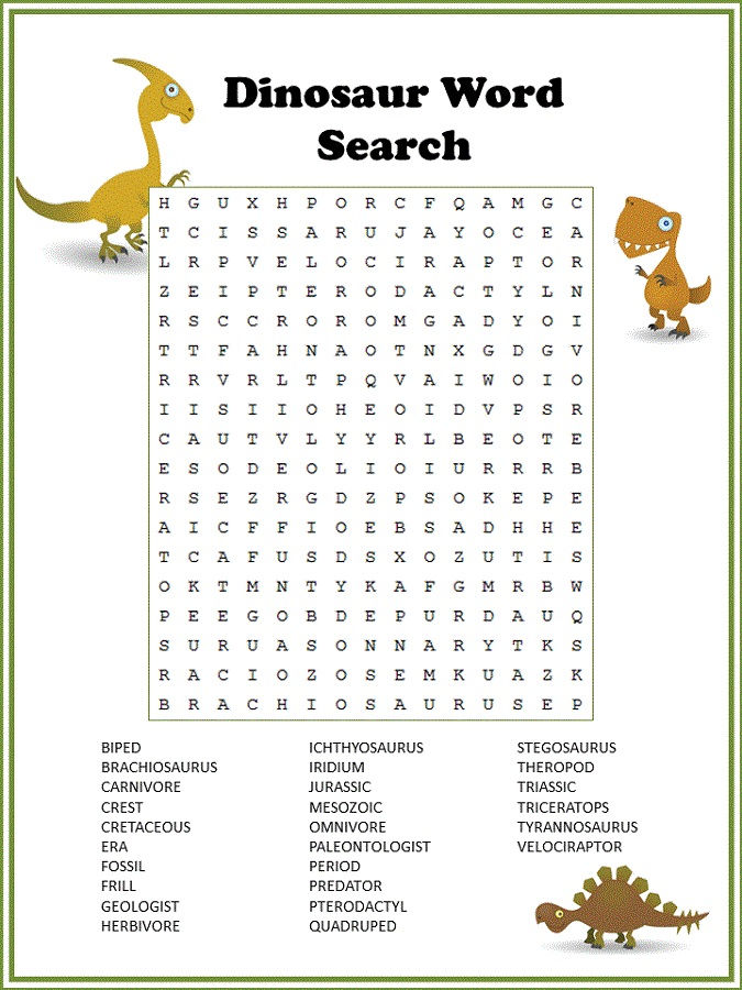 Word Puzzle For Kids Dinosaur
