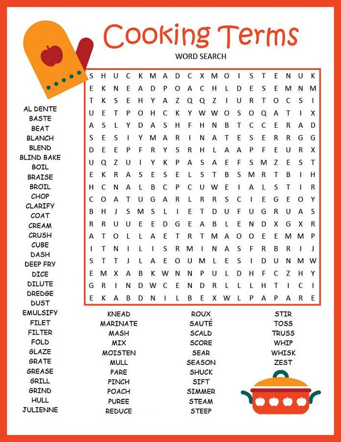 Word Puzzle Worksheets Cooking