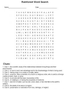 Word puzzle worksheets rainforest