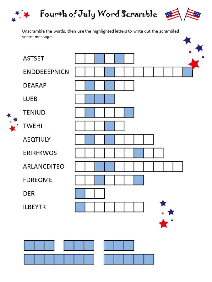 Word Scramble Puzzles July Fourth