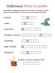 Word scramble worksheet halloween