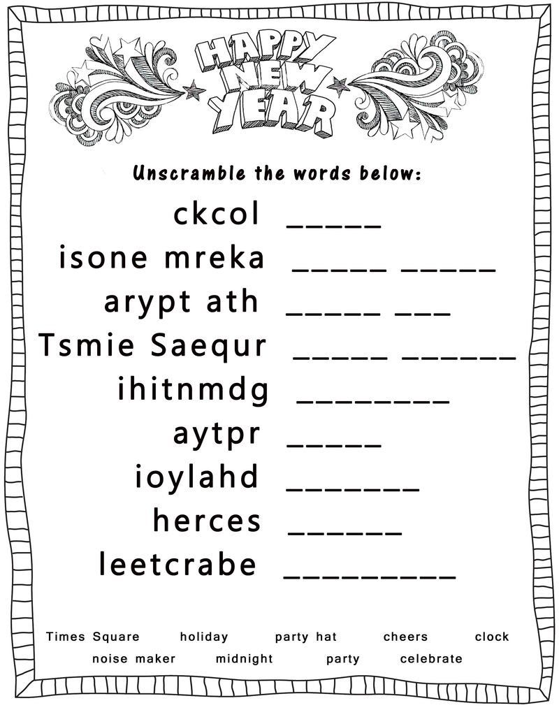 Word Scramble Worksheets New Year