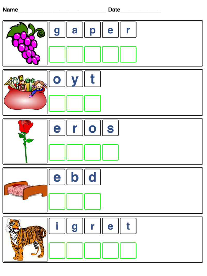 Word Scrambles For Kids Free