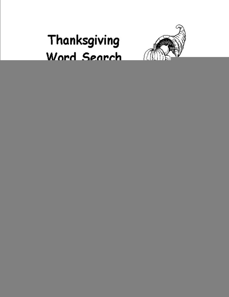 Word Search Easy Thanksgiving