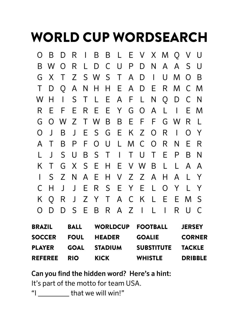 Word Search Football For Kids