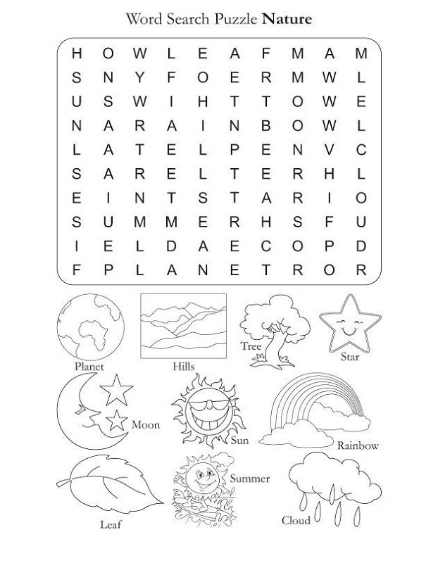 Word Search For Children Nature