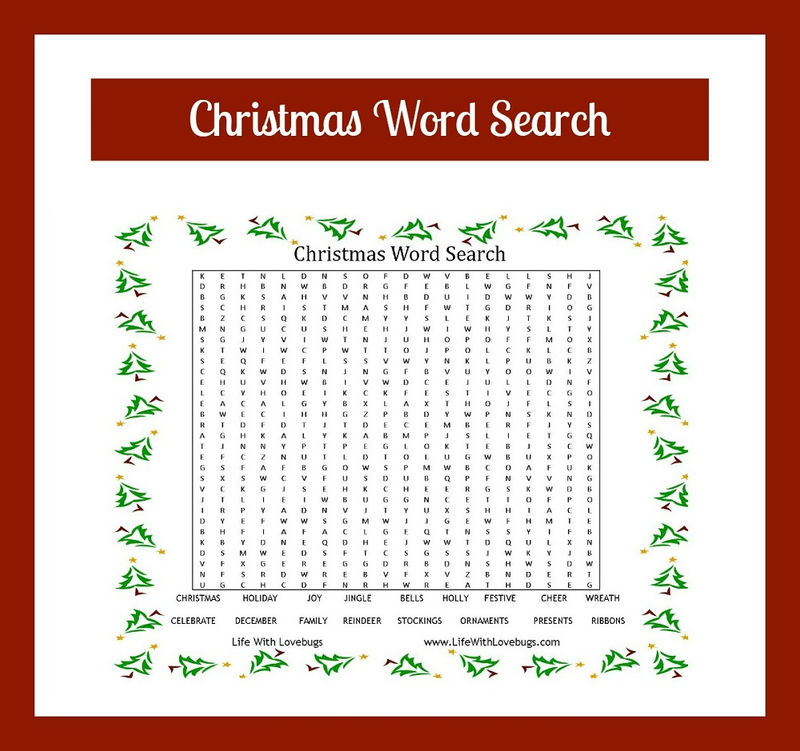 Word Search For Kids Christmas