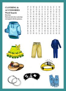 Word search puzzle for kids clothes