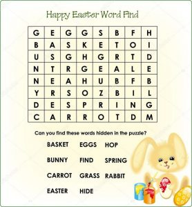 Word search puzzle for kids easter