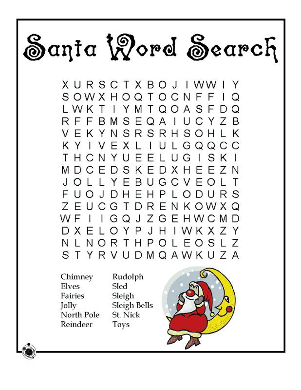 Word Search Puzzles For Kids Santa
