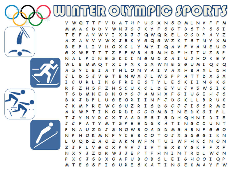 Word Search Sports Winter