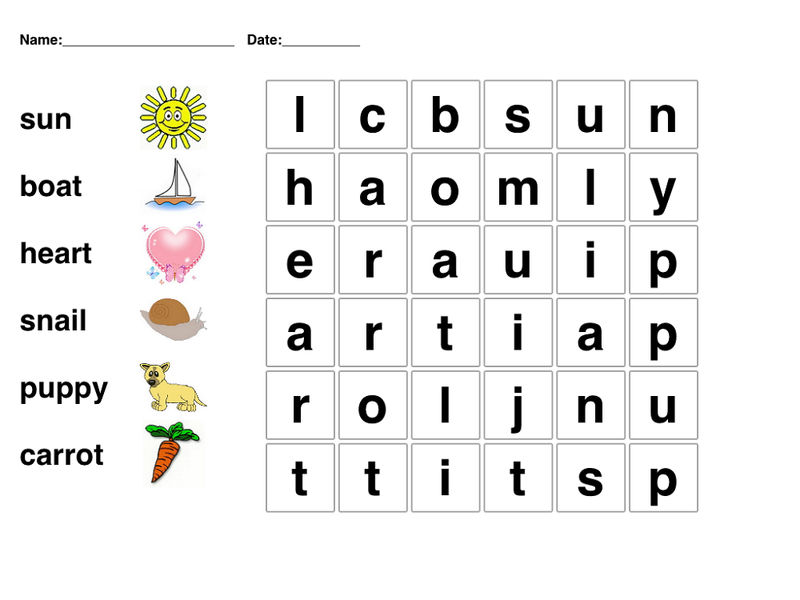 Word Searches For Children Printable