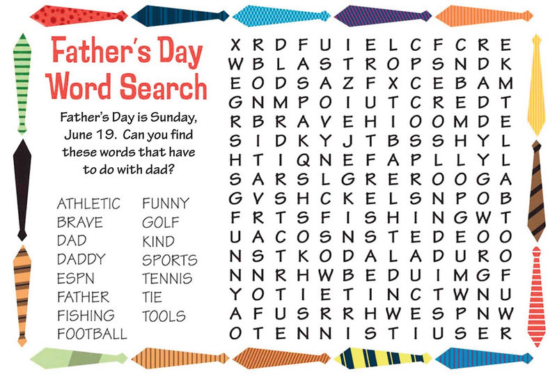 Wordsearch For Kids Fathers Day