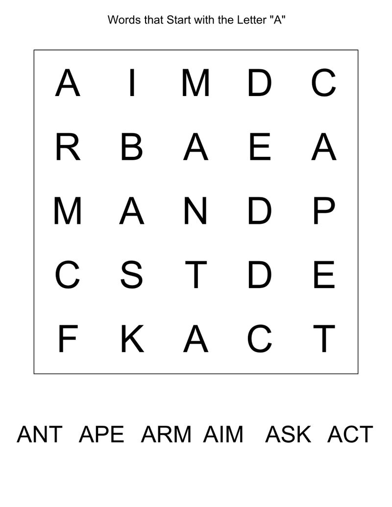 Wordsearch For Kindergarten Start With A