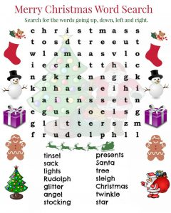 Wordsearches for kids christmas
