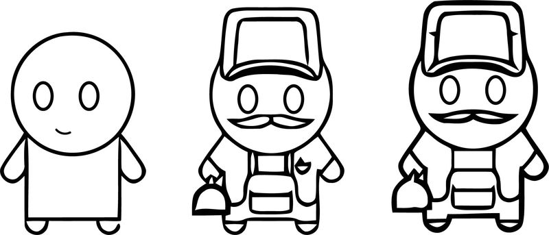 Worker And Man Character Progress Cartoon Coloring Page