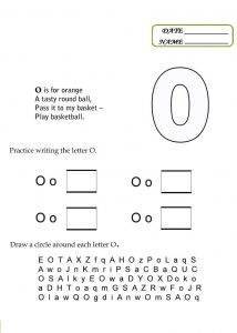 Worksheet of the letter o activity 001