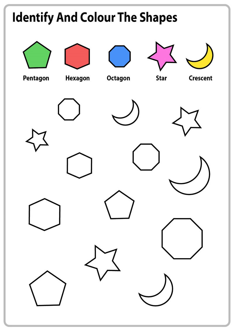 Worksheets For 5 Year Olds Shape
