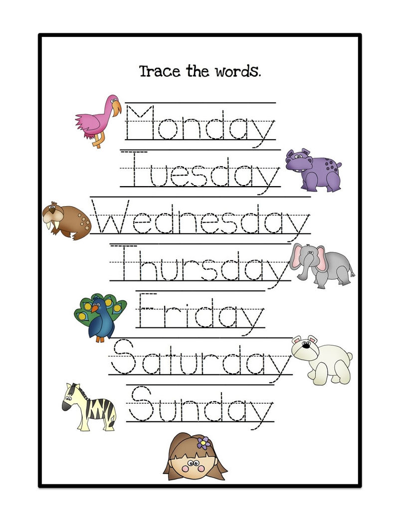 Worksheets For Days Of The Week Animal