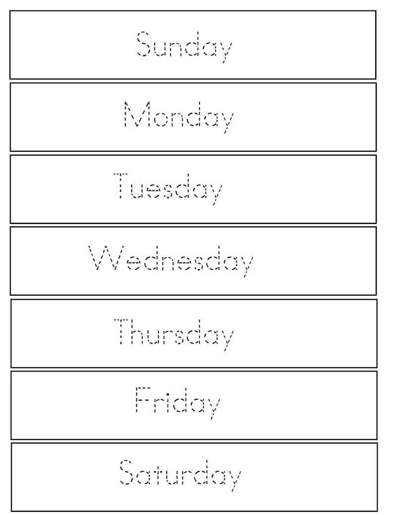 Worksheets For Days Of The Week Trace 1