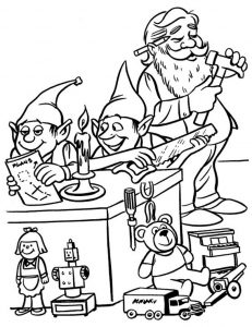 Workshop santa coloring pages 001