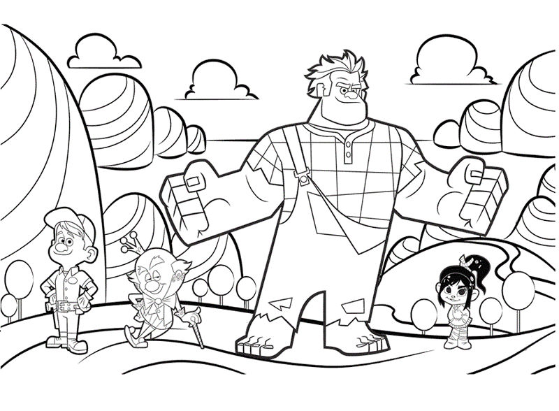 Wreck It Ralph Characters Coloring Picture