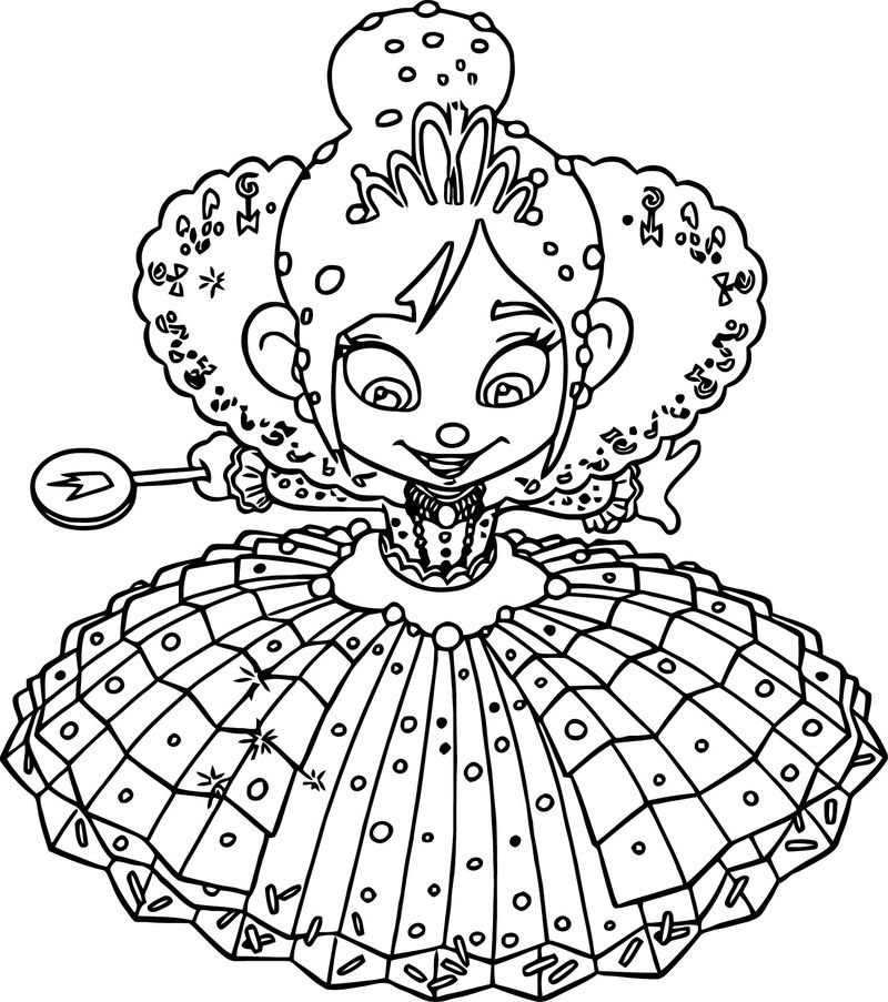 Wreck It Ralph Vanellope Von Schweetz Princess Girl Coloring Page